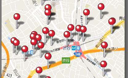 ハッピーメールのマップ画面